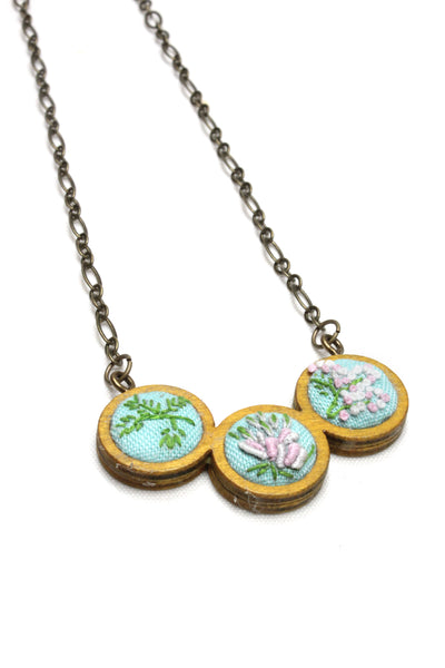 Embroidery Necklace - Flowers & Branch
