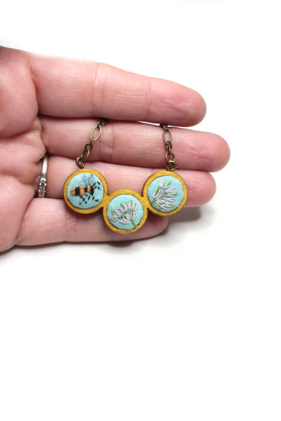 Embroidery Necklace - Bee & Flowers