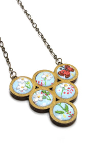 Embroidery Necklace - Butterfly & Daisies