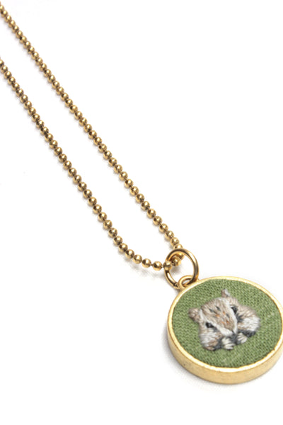 Embroidery Necklace - Squirrel