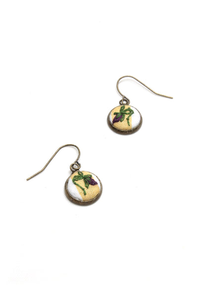 Embroidery Earrings - Purple Flower | On Sale