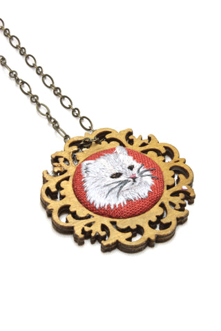 Embroidery Necklace - Long Hair White Cat