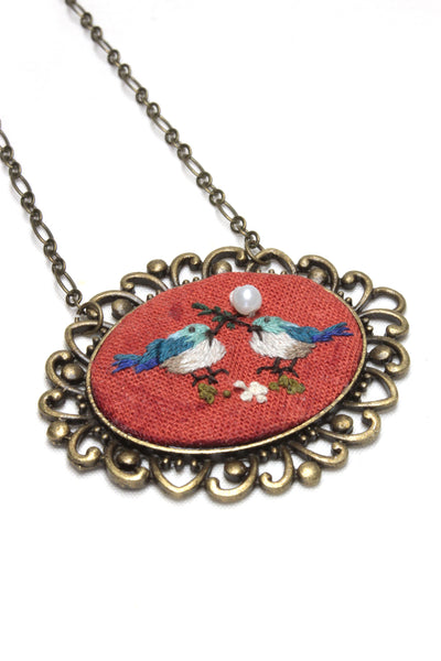 Embroidery Necklace - Two Love Birds