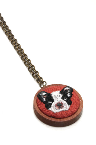 Embroidery Necklace - French Bulldog