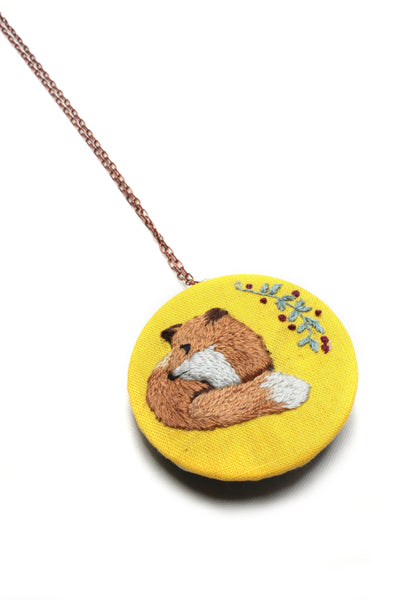 Embroidery Necklace - Fox | On Sale
