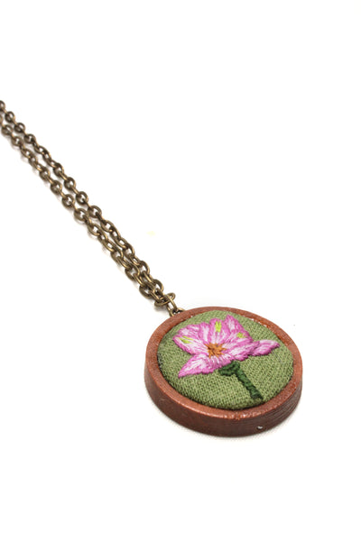 Embroidery Necklace - Pink Flower