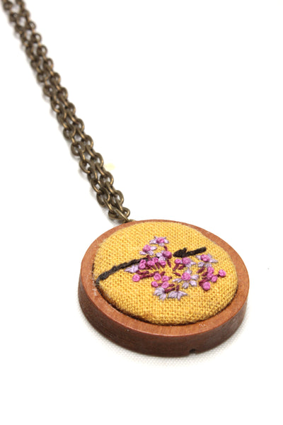 Embroidery Necklace - Lilac & Pink Flowers
