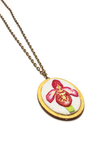 Embroidery Necklace - Orchid