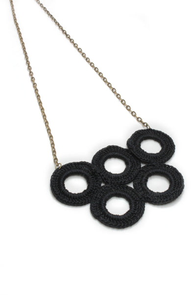 NEW | Crochet Necklace - Peacock Blue Circles or Black Circles