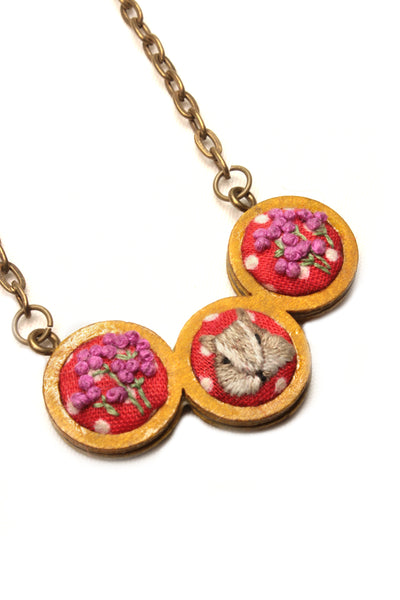 NEW | Embroidery Necklace - Squirrel & Flower