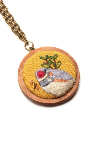Embroidery Necklace - Bird