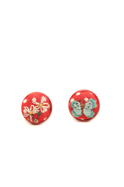 NEW | Embroidery Red Studs Earrings - Butterfly & Flowers