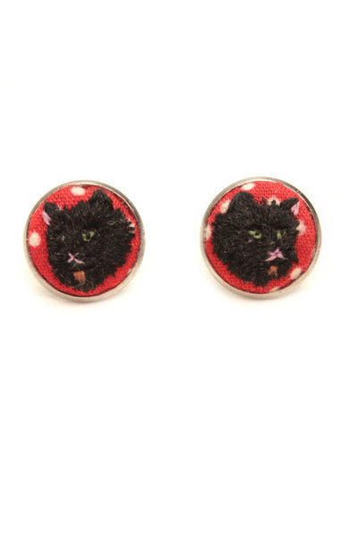 NEW | Embroidery Studs Earrings - Black Cat