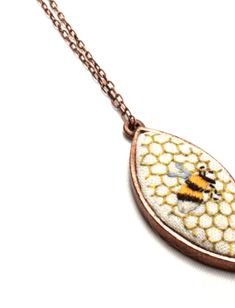 NEW | Embroidery Necklace - Honeycomb & Bee