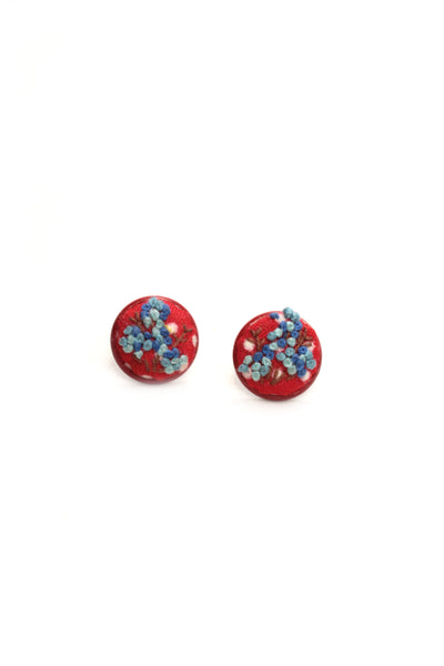 NEW | Embroidery Red Studs Earrings - French Knots - Blue