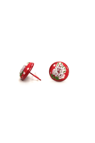 NEW | Embroidery Red Studs Earrings - Bullion Flower