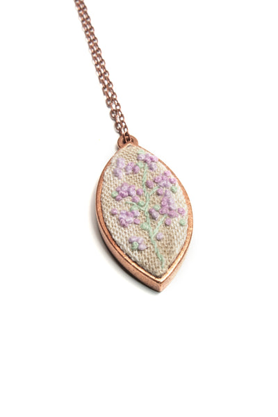 NEW | Embroidery Necklace - Lilac French Knots Flower Necklace