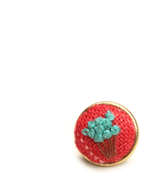 NEW | Embroidery Earrings - Aqua Flower