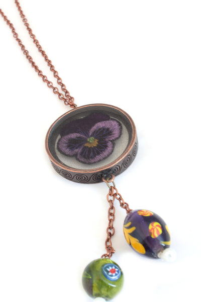 NEW | Embroidery Necklace - Purple Violet