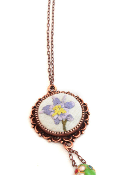 NEW | Embroidery Necklace - Rock Columbine Flower