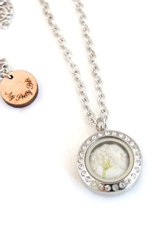NEW | Floating Locket - Embroidery Dandelion Necklace