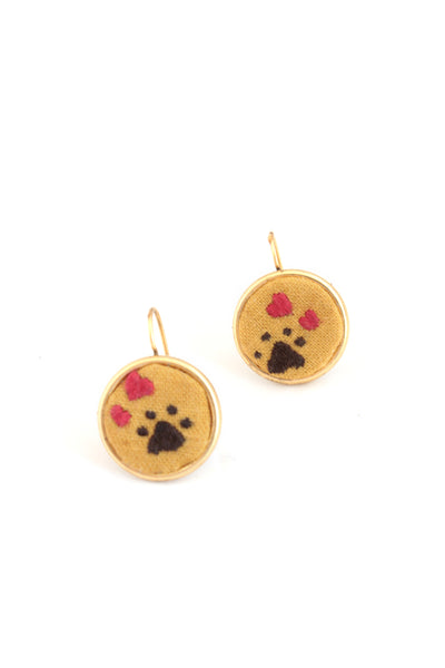 NEW |  Embroidery Earrings - Heart + Paw