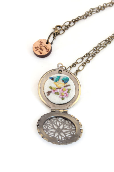 NEW | Locket - Embroidery Bird & Cherry Blossom Necklace