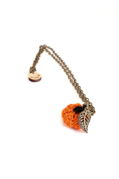Mini Crochet Pumpkin Necklaces | On Sale