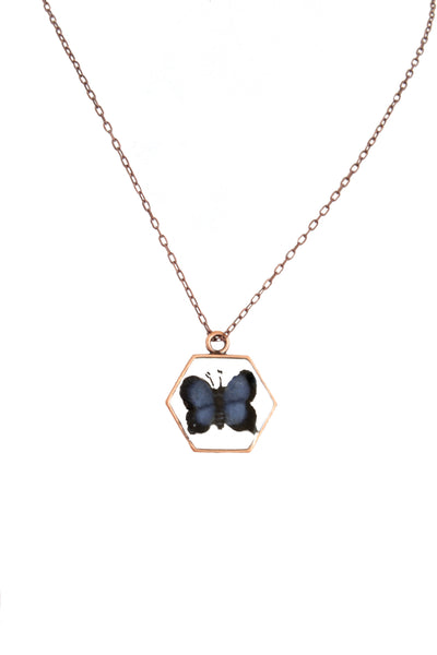 NEW | Hexagon Embroidery Necklace - Butterfly