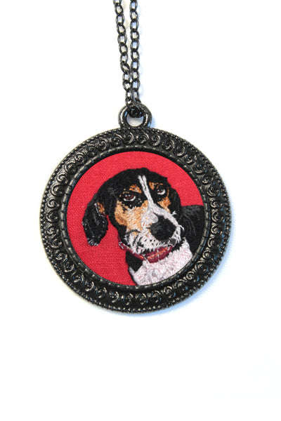 Embroidery Custom Pet Portrait - Black Round Pendant Necklace