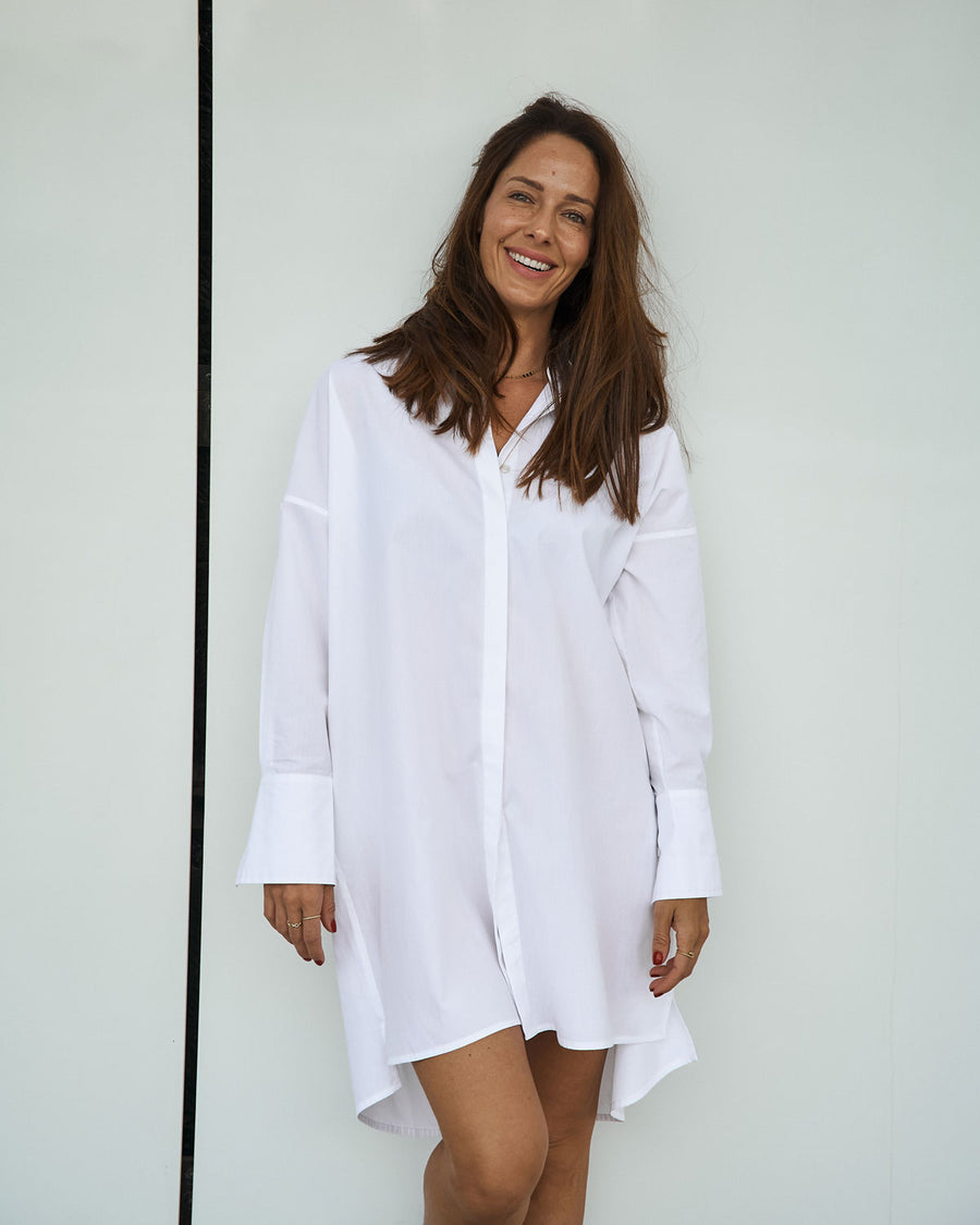 White Organic cotton Shirtdress EMILIA OHRTMANN
