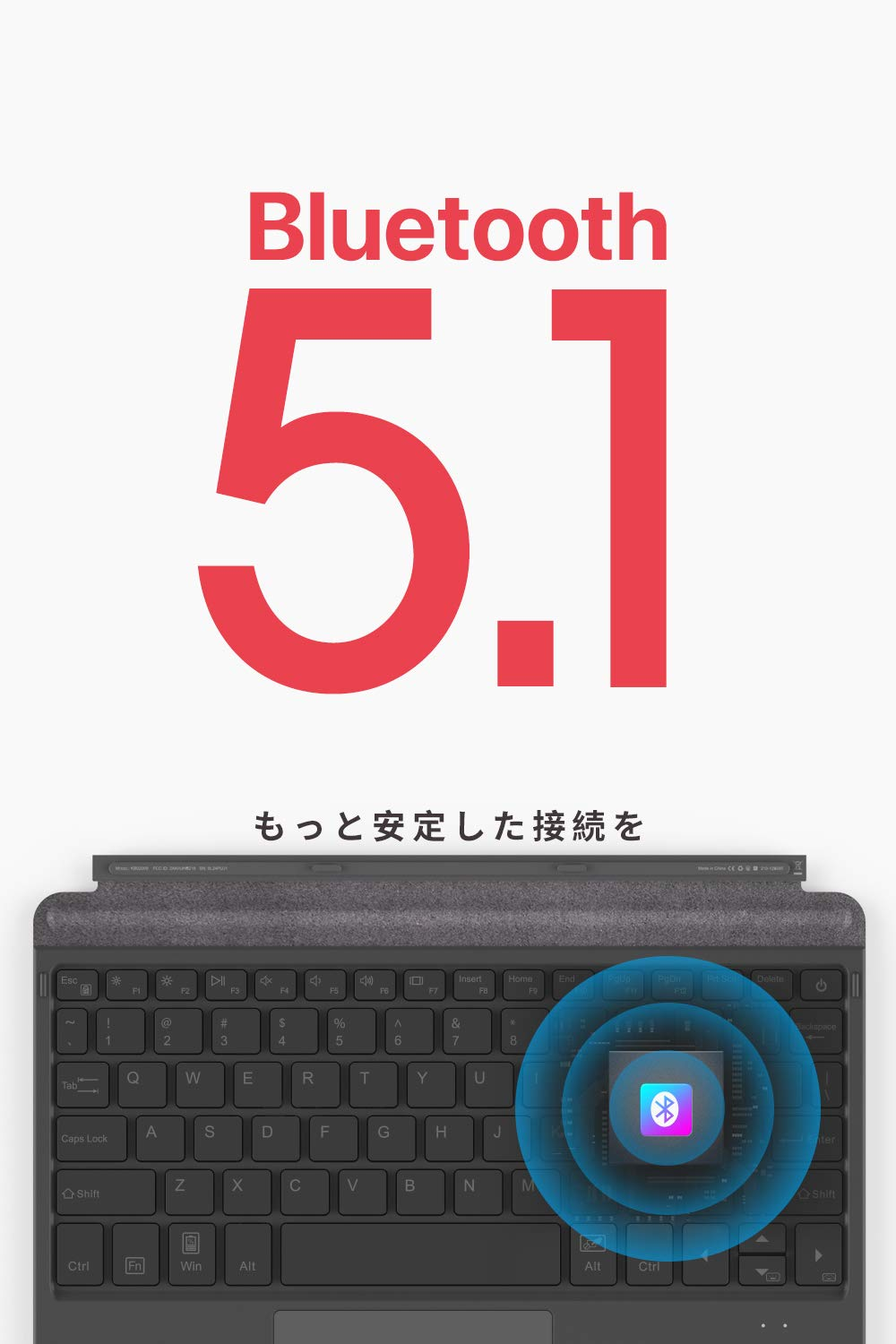 Inateck Surface Go キーボード カバー 、Bluetooth 5.1、7色バックライト、Surface Goのみ対応可能、KB02009