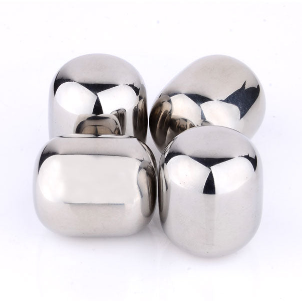 shopify-4 Piece Round Shaped Stainless Steel Ice Cube Cooler Set-2