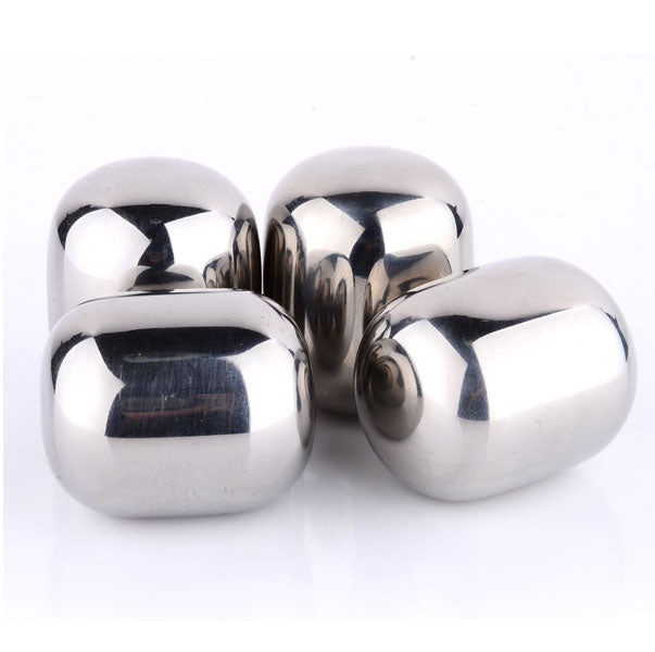 shopify-4 Piece Round Shaped Stainless Steel Ice Cube Cooler Set-6