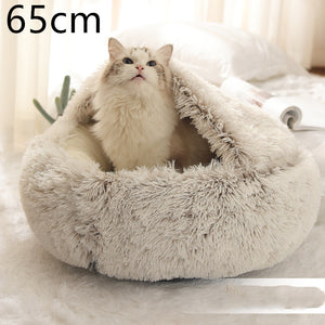 Pet Bed Round Plush Warm Bed House Soft Long Plush Bed  2 In 1 Bed