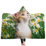 Cat  digital printing blanket hooded coat blanket home cobertor Animal children blanket thick blanket deken