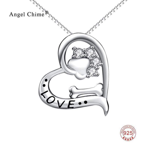 Sterling Silver Love My Dog Pendant Necklace , pendentif patte de chien .