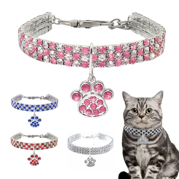 Diamond Inlaid Pet Cat Collar Pets Shiny Crystal Elastic cats Collars Footprints Accessories For Kitten Dog Collar Cat Necklace