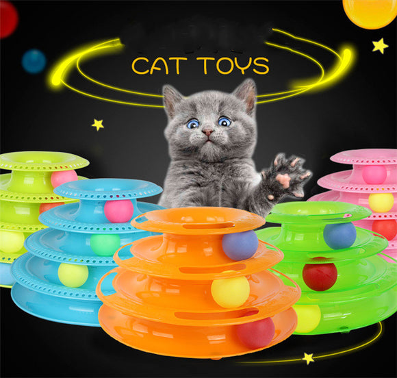 Interactive Funny four layer Cat Turntable Pet Ball Tower Tracks Toy