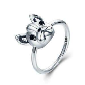 100% 925 Sterling Silver Loyal Partners French Bulldog Dog Animal Female Ring for Women Fashion Jewelry SCR261
