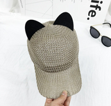 Summer Cute Cat Ear Breathable Solar Mesh Baseball Caps Women Snapback Adjustable Gorras Planas Hip Hop Bone Cap Hats