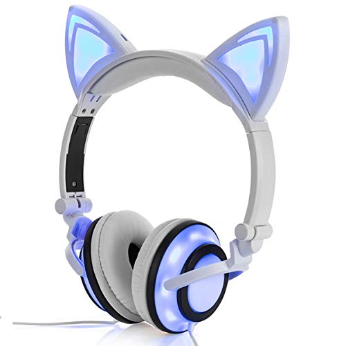 LIMSON Cat Ear Headphone for Kids, USB Rechargeable Foldable Over Ear Headset with LED Light Glowing Flash Earphones LX-R107 (White)