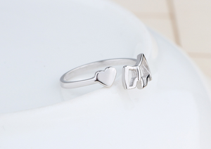 Damiana S925 silver jewelry female Korean cute littlelove small head opening ring , bague chien en argent 925