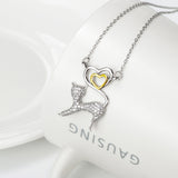 Kitty Pendant 925 Silver Necklace , collier chat en argent 925