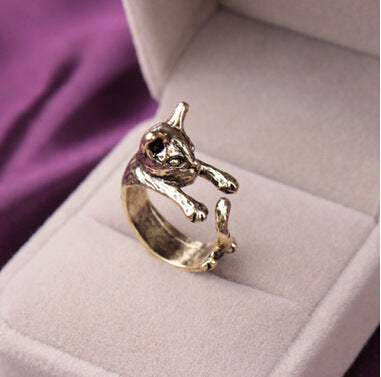 Cute animal opening ring cat playing tail