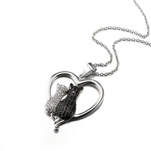 Love cat necklace ,925 sterling silver