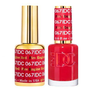DND DC 067 Fire Engine Red - Gel & Matching Polish Set - DND DC Gel & Lacquer
