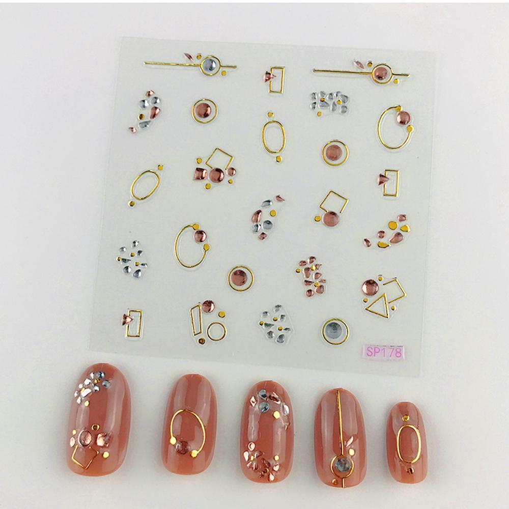3D Laser Bronzing Nail Stickers SP178