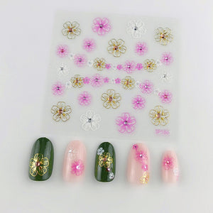 3D Laser Bronzing Nail Stickers SP186
