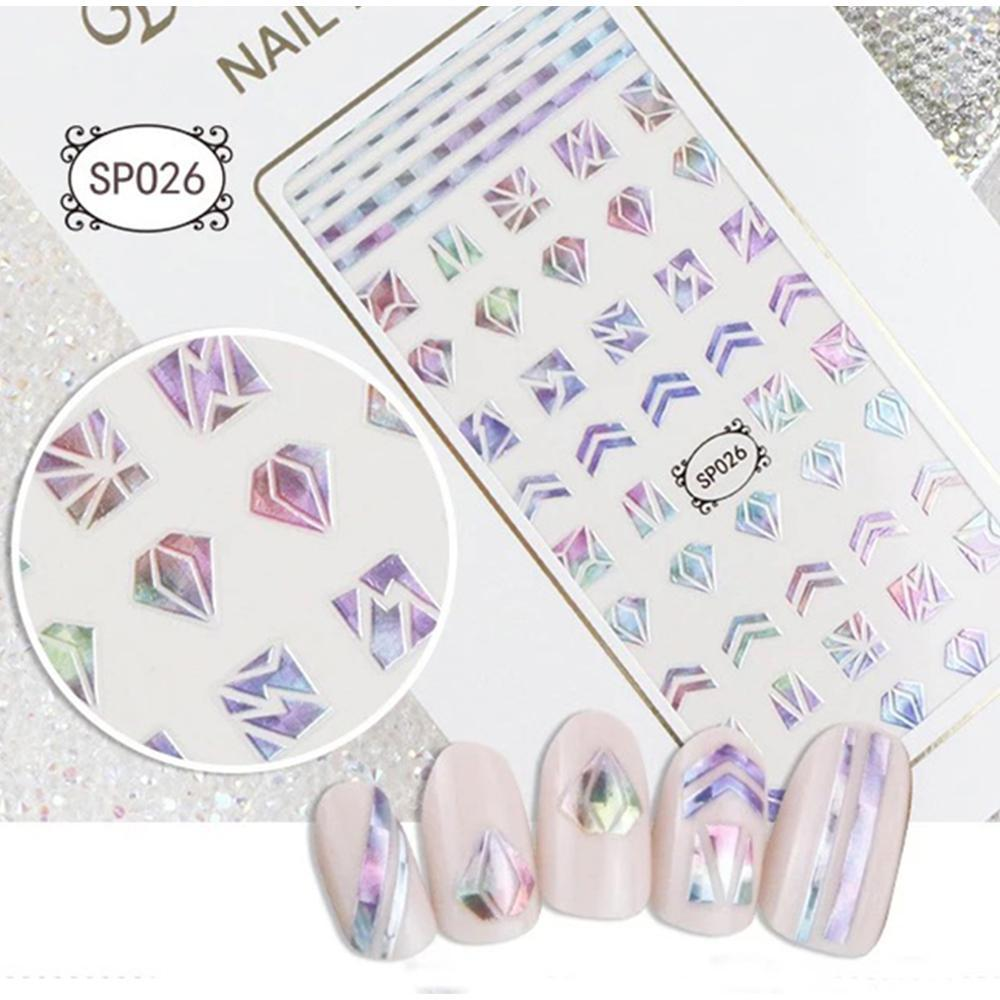 3D Laser Bronzing Nail Stickers SP026